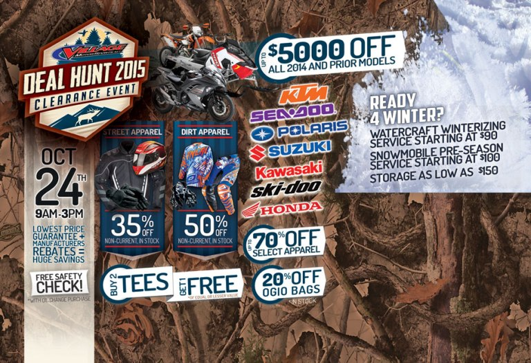 deal-hunt-clearance-event-village-motorsports-grand-rapids-michigan-apparel-gear-powersports